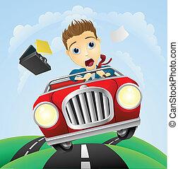 自動車, ビジネスマン, 速い, 若い, クラシック, 運転