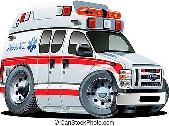 自動車, ベクトル, 漫画, 救急車