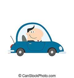 自動車, マネージャー, 微笑, 仕事, 運転
