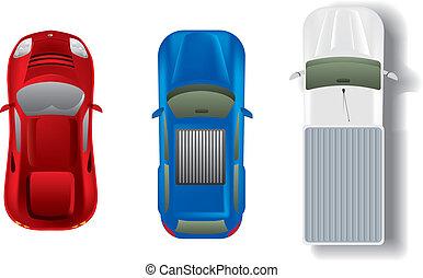 自動車, 上, セット, 別, 光景