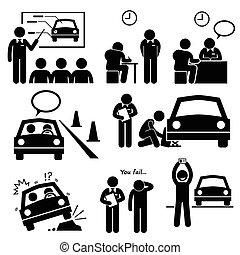 自動車, 学校, 免許証, 運転