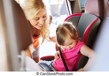自動車, 幸せ, 子供の 座席, 締め具, 母, ベルト