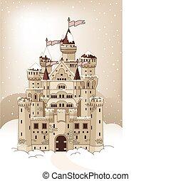自動車, 招待, 冬, マジック, 城