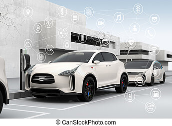 自動車, 概念, 接続される, 自治