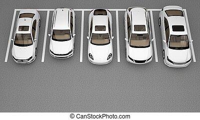 自動車, 白, グループ, 駐車