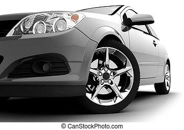 自動車, 白, 銀, 背景
