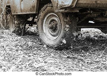 自動車, 車輪, 汚い, オフロード