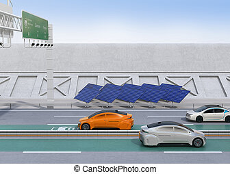 自動車, 運転, 電気である, 無線, 充満, 車線, ハイウェー