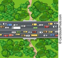 自動車, 高速道路, コルク, 混雑