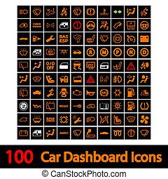 自動車, 100, ダッシュボード, icons.