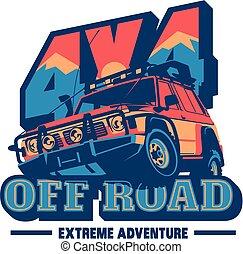 自動車, suv, オフロード, ロゴ, offroader., サファリ, 遠征隊