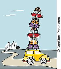 自動車, vacations:, たくさん, luggage., 満たされる