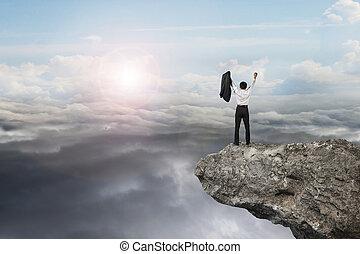 自然, cloudsca, 空, 元気づけること, 日光, ビジネスマン, 崖