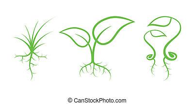 自然, -, icons., 部分, 緑, 7, 芽