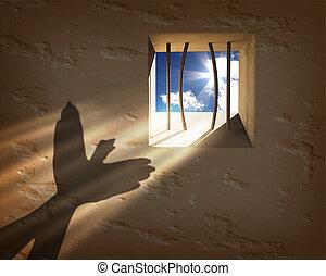 自由, concept., 逃げる, 刑務所