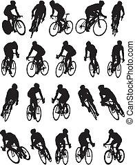 自転車, シルエット, 競争, 細部, 20