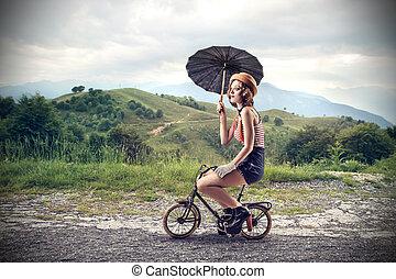 自転車, 女