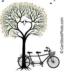 自転車, 心, 木, 鳥