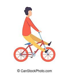 自転車, 若い, イラスト, ベクトル, 乗馬, 衣服, 偶然, 人