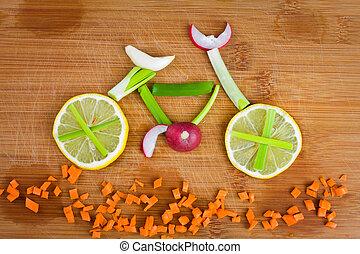 自転車, 野菜, ライフスタイル, -, 健康, 概念