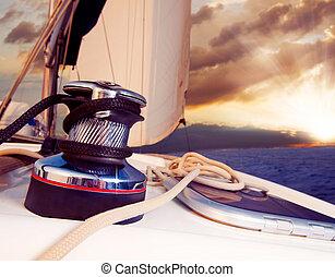 航海, に対して, ヨット, 旅行, sunset., sailboat.