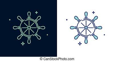 舵輪, スタイル, 線である, vector., アイコン
