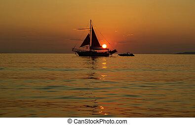船, 日没, 航海, 海