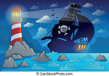 船, 2, シルエット, 海賊, 海岸