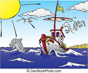 船, fish, イルカ, 去ること