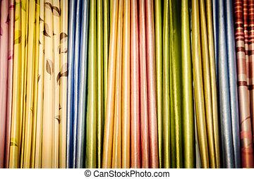 色, カーテン, 生地の店