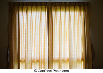 色, カーテン, 窓, 絹, クリーム