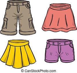 色, スカート, ズボン