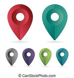色, セット, ピン, 位置, maping