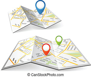 色, 地図, 折られる, マーカー, ポイント