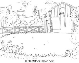色, 本, 黒, アウトライン, 農場, 漫画, 白