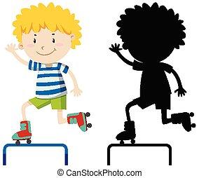 色, 男の子, スケート, 遊び, シルエット, ローラー