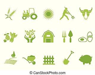 色, 農場, セット, 緑, アイコン