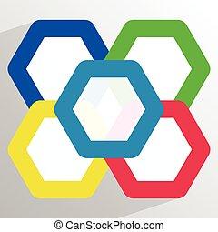 色, 重なり合う, 六角形, 5, 幾何学的, アイコン