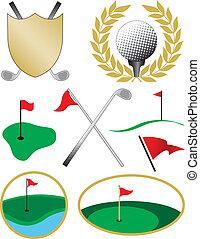色, 8, ゴルフ, アイコン