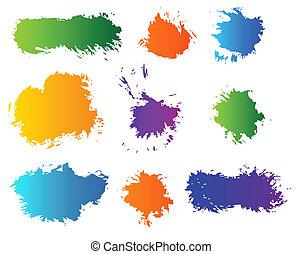 色, blots, セット, ベクトル