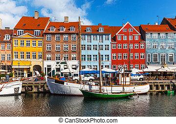 色, nyhavn, 建物, デンマーク, copehnagen
