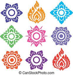 花のパターン, タイ人, カラフルである