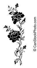 花のパターン, バラ, tatto, 縦