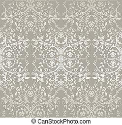 花のパターン, レース, 銀, seamless