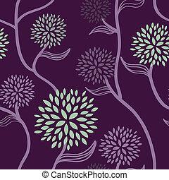 花のパターン, 紫色, 緑