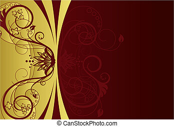 花のボーダー, デザイン, 赤, 金