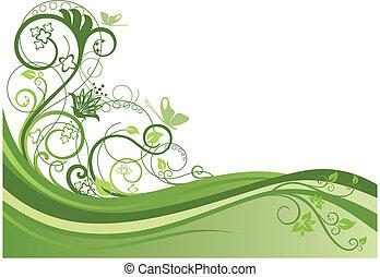 花の意匠, 1, ボーダー, 緑