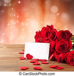 花束, ばら, 木製のテーブル