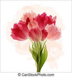 花束, チューリップ, 花, 背景