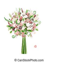 花束, 花の意匠, あなたの, 結婚式